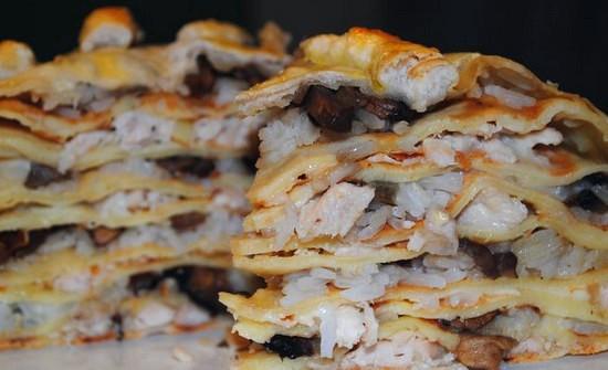 Блинный пирог курник - рецепт