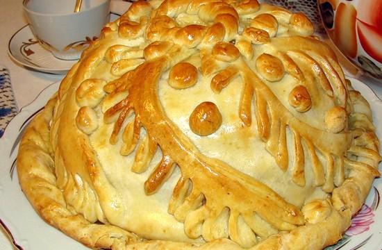 Русский пирог курник с начинкой
