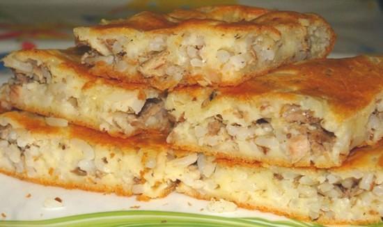 рецепт пирога с рыбой из дрожжевого теста с рисом