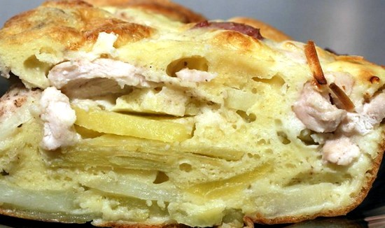 пирог на кефире с картошкой и грибами
